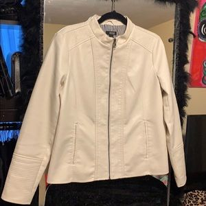 a.n.a white faux leather jacket. Like New!!